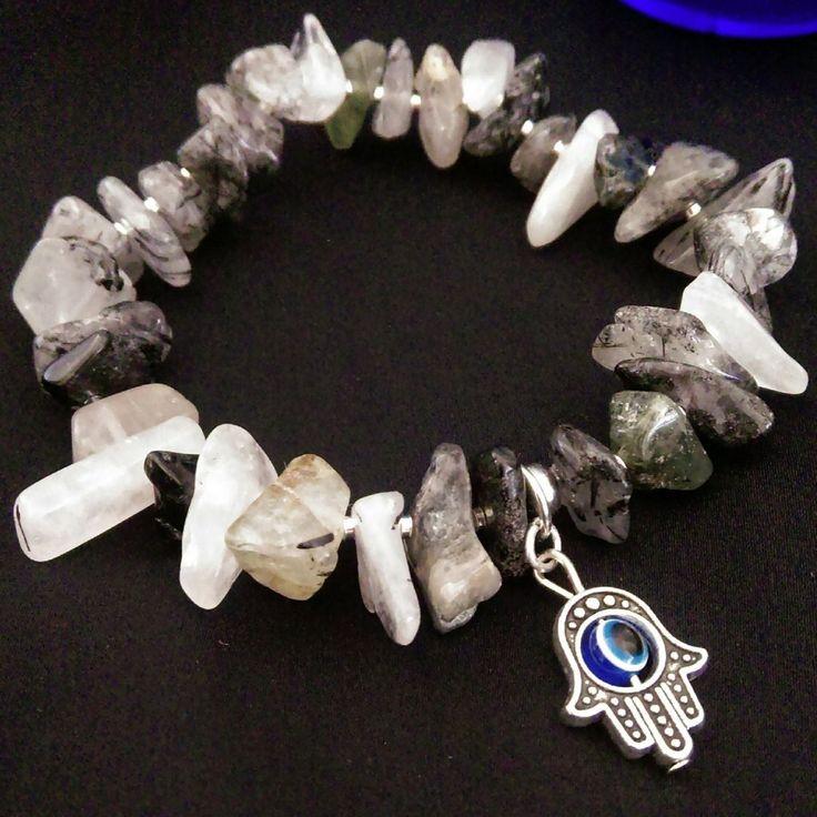 Tourmalinated Quartz Stretch Bracelet // Gemstone Bracelet