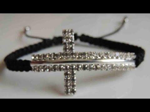 DIY Como hacer una Pulsera de cruz de strass. How to make bracelet cross stras. - YouTube