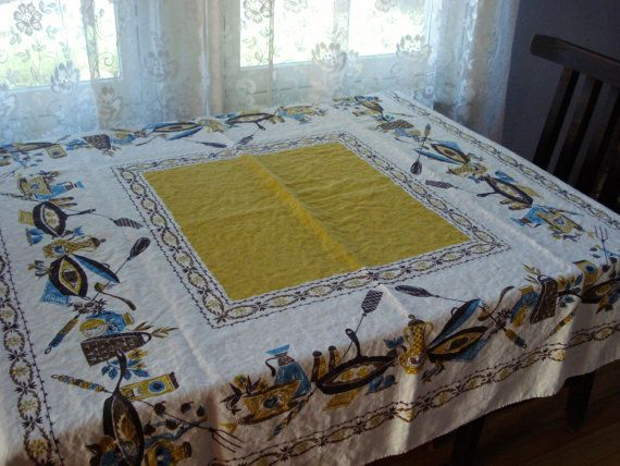 Vintage 1960s MidCentury Tablecloth Square 2013476 by bycinbyhand, $30.00