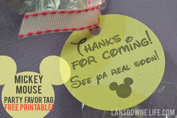 FREE printable: Mickey Mouse birthday party favor tags | Lansdowne Life