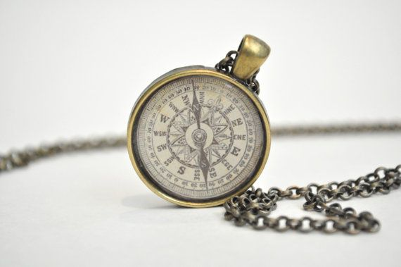 Kompas ketting, reizen cadeau, kompas charme, kompas sieraden, nautische ketting, graduatiegift, steampunk ketting, reizigers cadeau