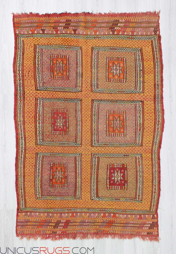 """Vintage handwoven colourful embroidered kilim rug from Fethiye region of Turkey. In good condition. Approximately 45-55 years old. Width: 5' 1"""" - Length: 7' 6"""" Embroidered Kilims"""