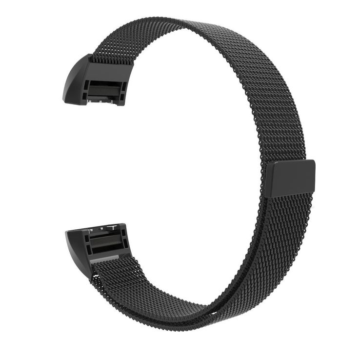 Fitbit Charge 2 Smart Watch Bands,Milanese Loop Magnetic Absorbing with Metal Clasp Sport Band Mothca Stainless Steel Bracelet Strap Replacement Accessory Fitness Wristband for Fitbit Charge 2(Black)