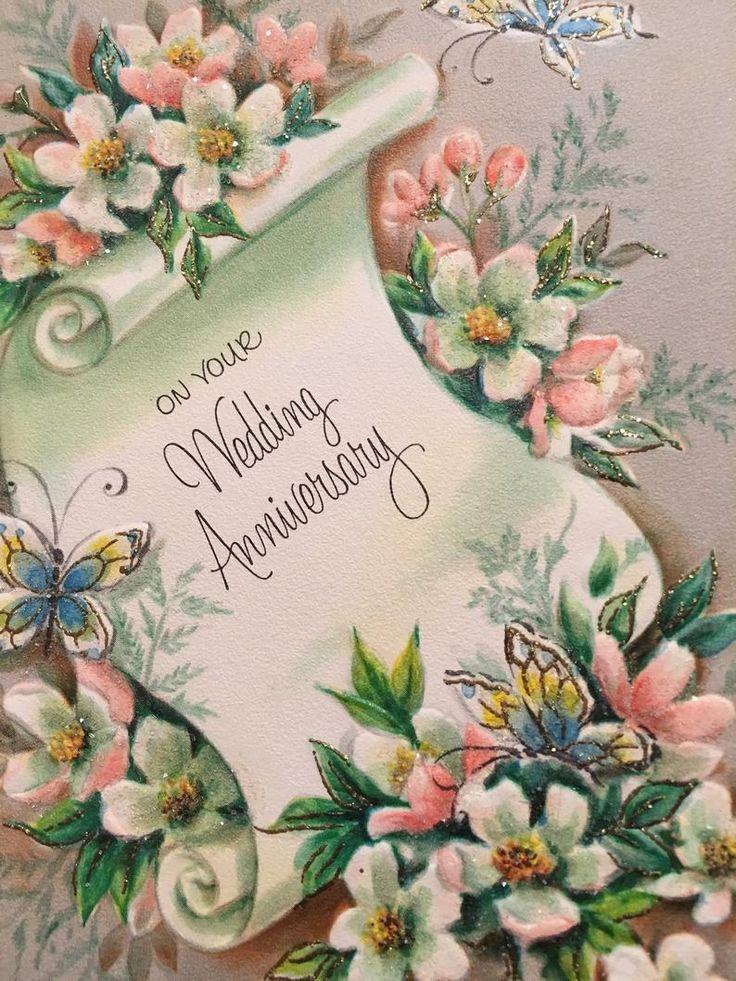 Vintage Wedding Anniversary Card Glittered Pink NOS