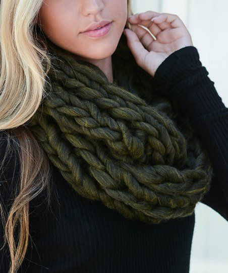 25e809e654d8c Leto Collection Olive Braided-Knit Infinity Scarf - Women | zulily ...