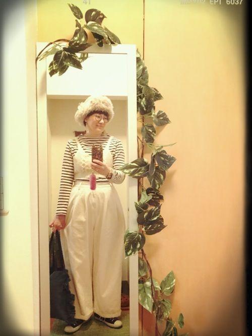 milsaのパイロット帽 アウター…nico and… ボーダー…無印良品 ニット…w closet