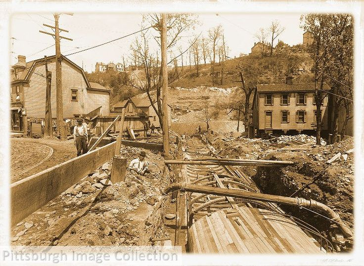 Historic Pittsburgh, Pennsylvania - Liberty Tunnel start in 1914, moving houses to begin tunnels
