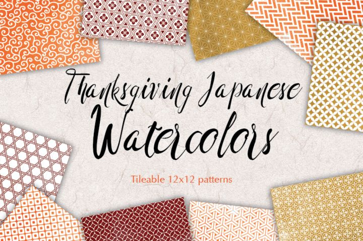 ThanksgivingJapanese Background Patterns:: watercolored graphicswith quatrefoil, swirls,stars and more. You get 10 High Quality Sheets::JPG files size 12x12 incheswith300 dpi jpg, for perfect printing or digital use. These have so many uses, they are great for scrapbooking, crafts, party decor, DIY projects, blogs, stationery& more. All patterns are original and copyrighted by All is Full of Love