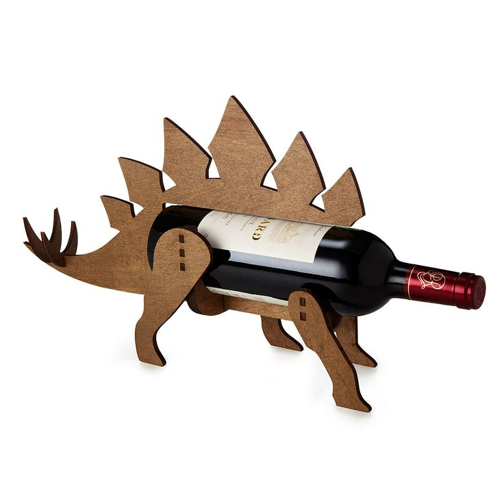 WINE-O-SAUR WINE BOTTLE HOLDER   Wooden Wine Rack, Dinosaur   UncommonGoods