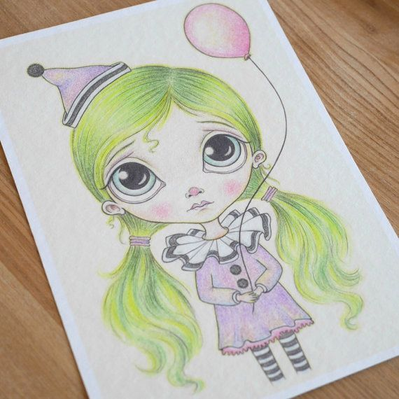 The Littlest Clown ~ 5x7 ~ Fine Art Print ~ Pop Surrealism ~ Big Eyed Drawing ~ By Nicole Clements