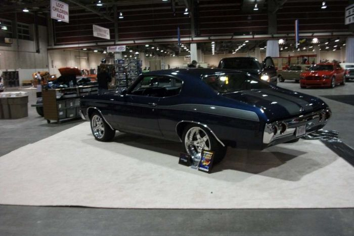 72 Chevelle Navy Blue And Grey Boze Wheels 5 Star