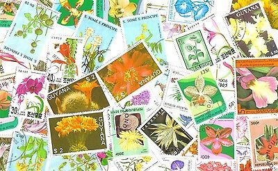 FLOWERS - Lot of 50 used/mnh different stamps
