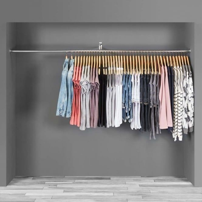 Wardrobe Alcove Clothes Hanging Rail With Double Support Arm 2 M