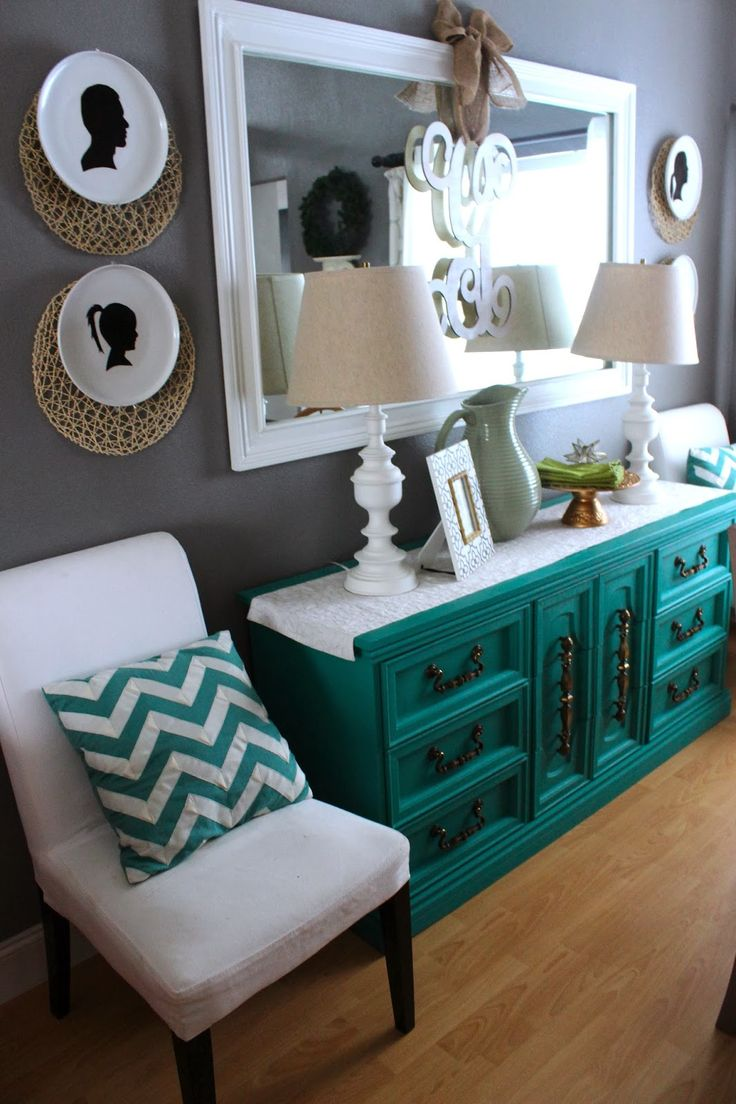 Turquoise kitchen walls like the chair color too decorating - Love How That Piece Just Pops Want To Do This To Boys Dresser But In