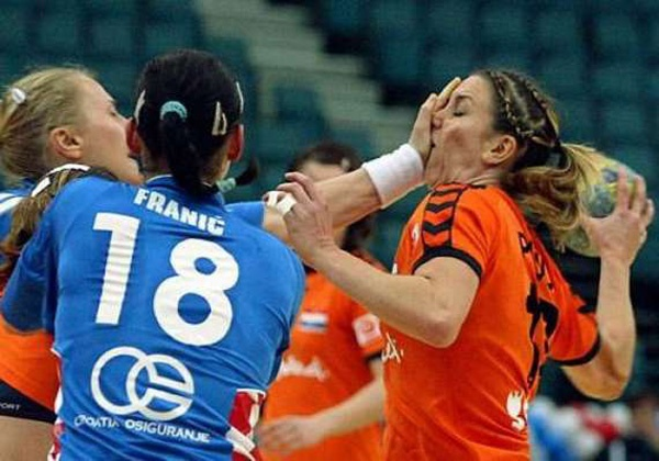 Croatia pulls a head during the XVII Womens World Handball Championship in St. Petersburg, Russia. AP