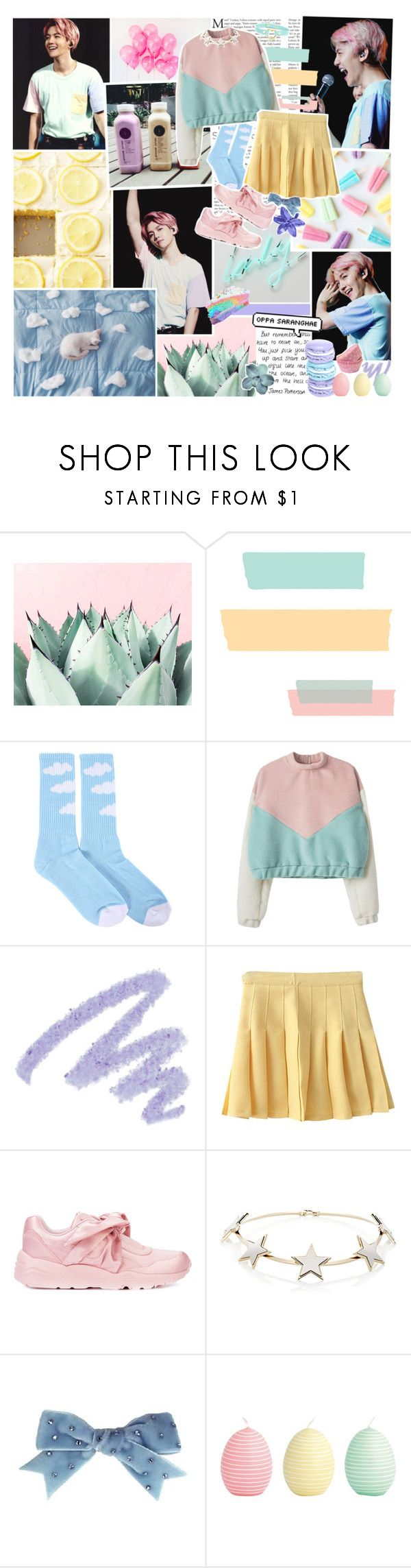 """❀ so lucky to have you ❀"" by indie-fox ❤ liked on Polyvore featuring ODD FUTURE, Yves Saint Laurent, Puma, Givenchy, Tarina Tarantino, GreenGate, kpop, pastel, EXO and baekhyun"