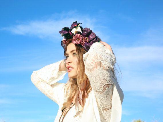 Violet Boho halo bandeau de mariée halo halo fleur par Inspirala