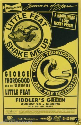 Little Feat George Thorogood 1995 Denver Concert Tour Poster Southern Rock | eBay