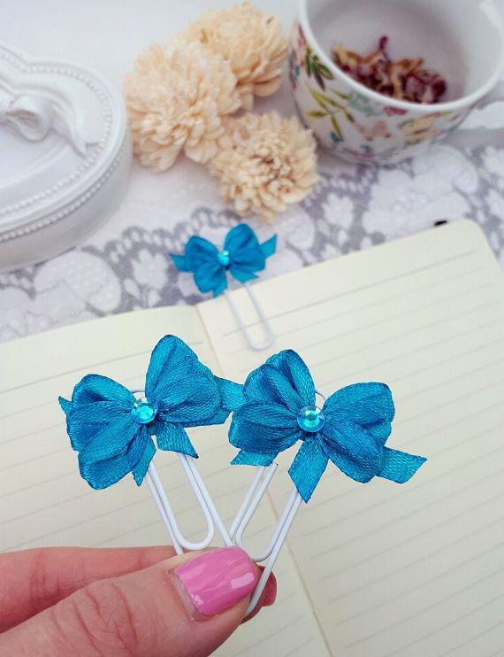 Blue planner clips blue bows bookmarks organizer clips blue by Rocreanique on Etsy