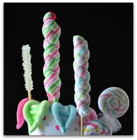 Candy- made out of receiving blankets and baby wash cloths