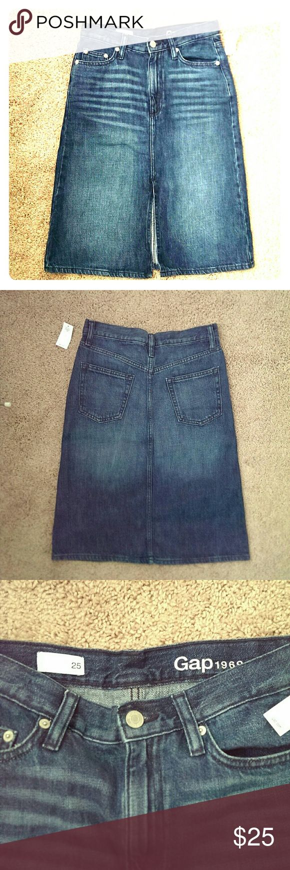 Gap Jean Skirt High Waist Brand new high waist Gap skirt with a front slit. Size 25. GAP Skirts