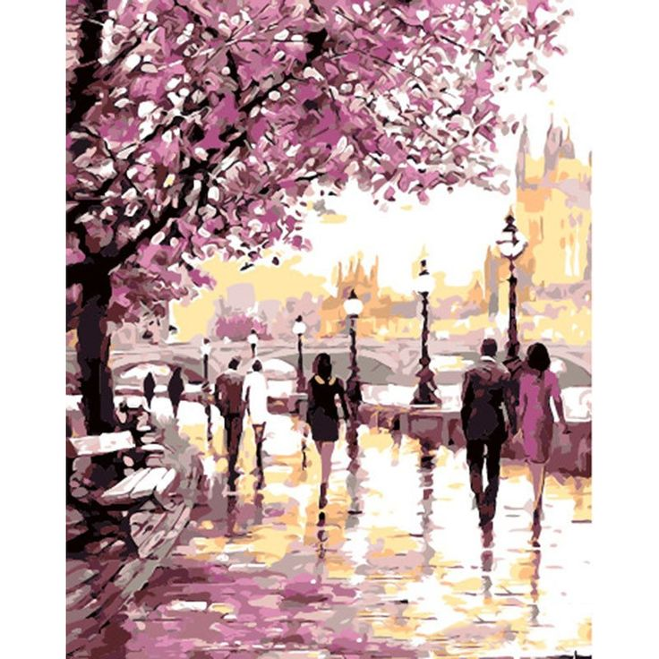 Cherry Blossoms By The Lake - Easy DIY Oil Paint By Numbers Kit On Canvas                      – My Paint by Numbers