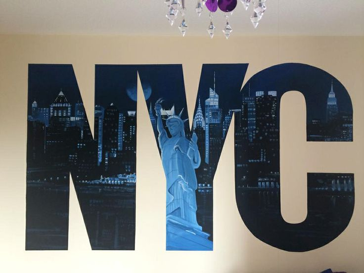 NYC Skyline Painted Wall Mural