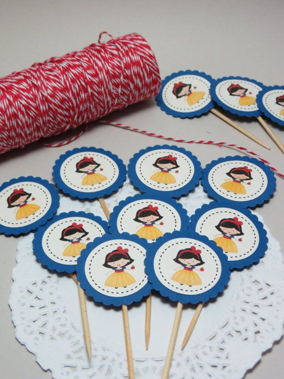 15 toppers da 3,7cm diam. per panini e cupcakes festa decorazione Bianca Neve
