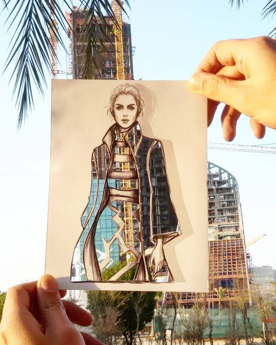 Jordanian artist Shamekh Bluwi took the internet by storm with an innovative collection of illustration, which function as fashion and architectural designs.