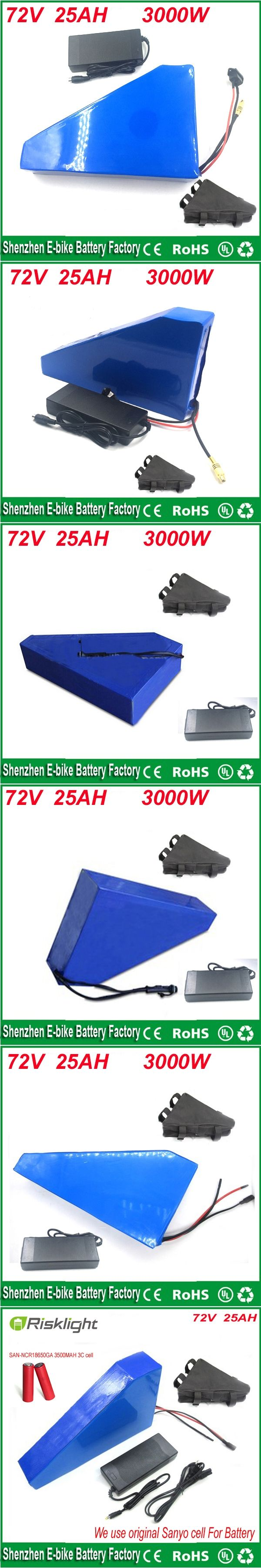triangle lithium battery 72V 25Ah electric bike battery 72V 3000W electric bicycle battery with charger and bag For Sanyo cell