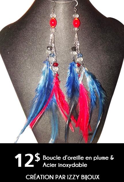 Plume de coq rouge et bleu, avec cristaux et chaine.