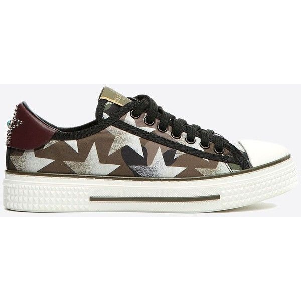 Valentino Garavani Camustars Sneaker ($630) ❤ liked on Polyvore featuring shoes, sneakers, military green, print sneakers, valentino trainers, olive green shoes, patterned shoes and print shoes
