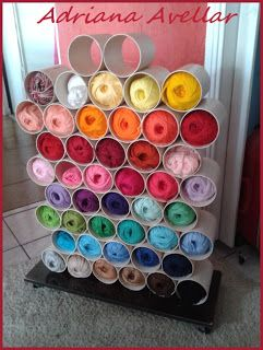 Yarn Storage & decorative too!  Made this with the help of my DAD!!! turned…