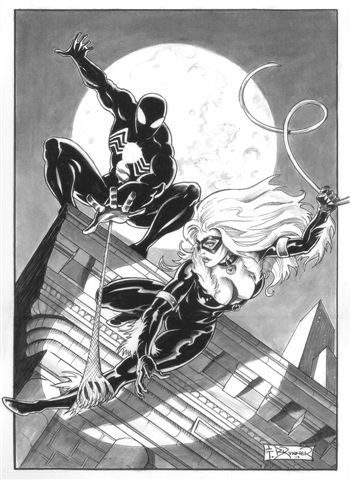 Black Costumed Spider-Man vs. Black Cat by Frank Brunner, in LarryMarsilis Commissions Comic Art Gallery Room - 1006450