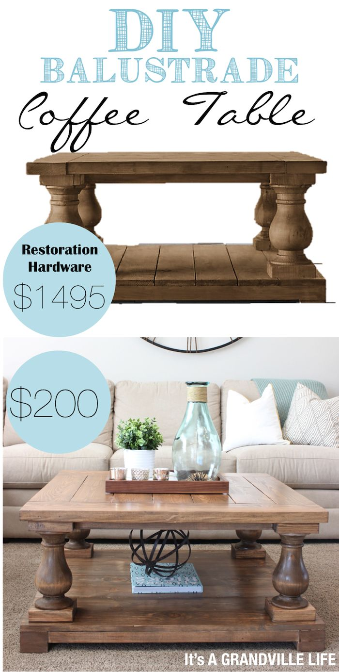 Detailed tutorial on how to make your own DIY Restoration Hardware  Balustrade Coffee table for $200!  | It's A Grandville Life #DIY
