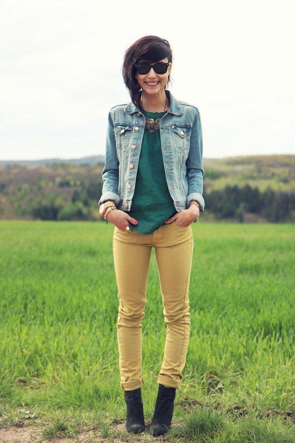 jean jacket, teal shirt, yellow skinny jeans, black booties,