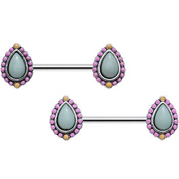 "14 Gauge 9/16"" Light Blue and Pink Pastel Teardrop Nipple Ring Set | Body Candy Body Jewelry"