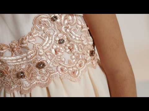 Dress with embroidered tulle and chiffon - Lesy