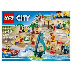 Grow your LEGO® City population with this people pack, featuring a wide range of minifigures and endless possibilities for activities, with windsurfing and kayaking, volleyball net with ball, trees with hammock and an ice cream stand. Includes 15 minifigures plus dog, fish, dolphin and lobster figures. <br>• Build the perfect day at the LEGO City beach, with a whole range of mini-builds and tons of special LEGO element accessories!<br>• Includes 15 male ...