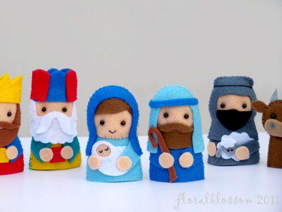 Digital patrón: Títeres de dedo Natividad por FloralBlossom en Etsy                                                                                                                                                                                 Más