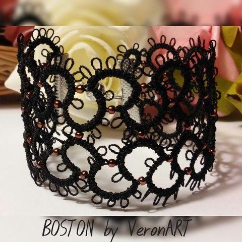 BOSTON fekete hajócsipke karkötő réz színű gyöngyökkel, horgolt, Ékszer, óra, Esküvő, Karkötő, Esküvői ékszer, Meska