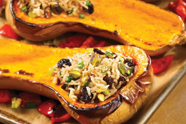 Why We Love This Recipe Tender roasted butternut squash is stuffed with spiced Persian rice—and cleanup is a breeze because you only need a sheet pan, a bowl, a knife and a spoon to make it. We're always on the lookout for easy dinners that happen to be healthy too and this stuffed butternut squash...Read More »