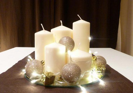 2 centro mesa navidad velas adornos christmas for Centro de mesa navideno manualidades