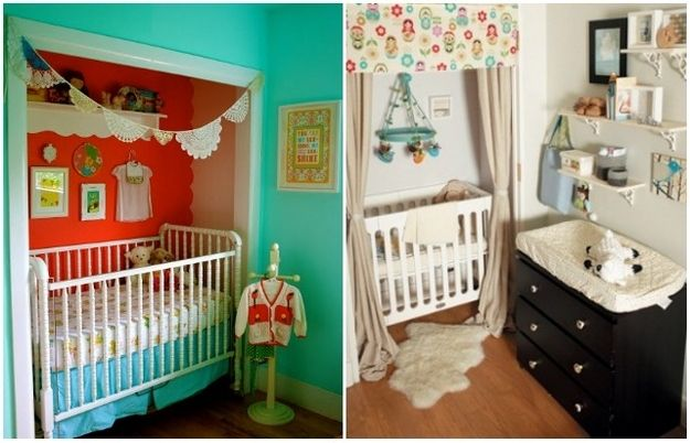 Put the crib in a small closet. / 25 Hacks To Make Room For A Baby In Your Tiny Home (via BuzzFeed)