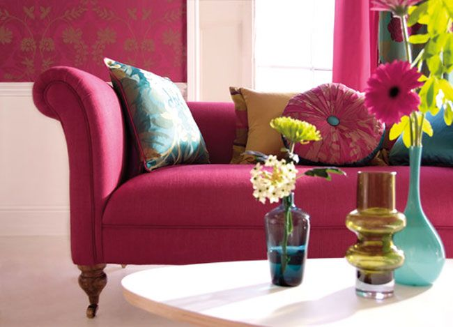 75 best inspiration bright funky interiors images on for Bright pink wallpaper uk