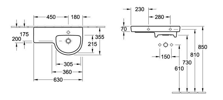 Subway Asymmetric Round Wash Basin - Right hand bowl - Wall Mounted - Basins - Villeroy & Boch