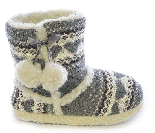 SlumberzzZ Ladies Hearts Design Knitted Boot & Pom Pom Warm Fur Lined Slipper FT0622A