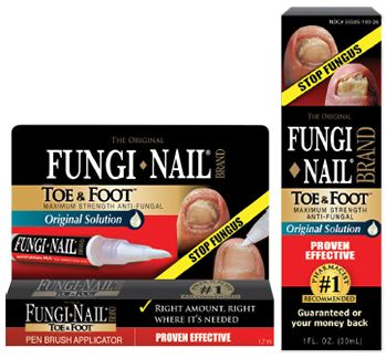 Fungi-Nail Toe & Foot Anti-Fungal Liquid Solution is a topical anti-fungal treatment that is ideal for treating toe and finger fungus as well as athlete's foot that frequently occurs with toe fungus. It eliminates fungal infections on cuticles, around nail edges and under nail tips. Fungi-Nail Toe & Foot guarantees visible results within weeks with no harmful side effects. The solution contains 25% Undecylenic Acid.