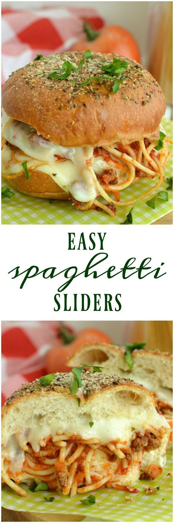 Easy Spaghetti Sliders are hearty spaghetti,  layers of cheese, and garlic bread all wrapped up in one scrumptious little slider!