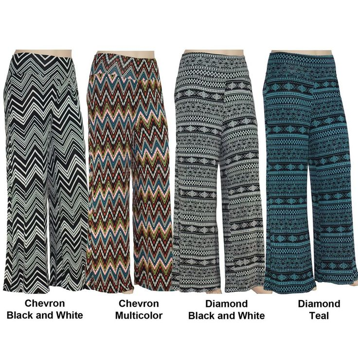 Womens Plus Size Soft Comfy Stretchy Wide Leg Palazzo Pants Boho Printed Designs